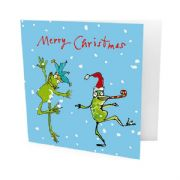 Pack of 10 Quentin Blake Alzheimer's Society Charity Christmas Cards - Dancing Frogs